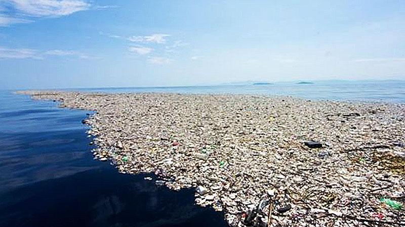Isola di plastiche e rifiuti non degradabili, chiamata Great Pacific Garbage Patch.