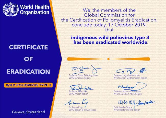 dichiarazione dell'OMS dell'eradicazione del poliovirus di tipo 3