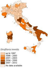 Areale di diffusione di D. immitis in Italia.