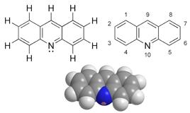 struttura chimica e rappresentazione molecolare dell'arancio di acridina