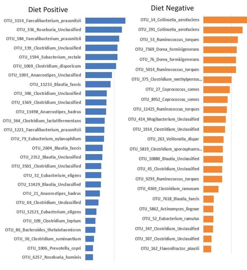 Rappresentazione dei differenti taxa che sono presenti nel microbiota in seguito all'adesione alla Dieta Mediterranea e senza questa