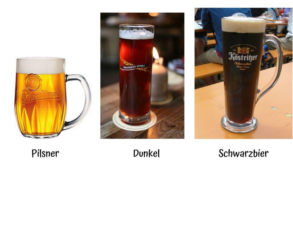 alcuni tipi di birra lager pilsner dunkel e schwarzbier