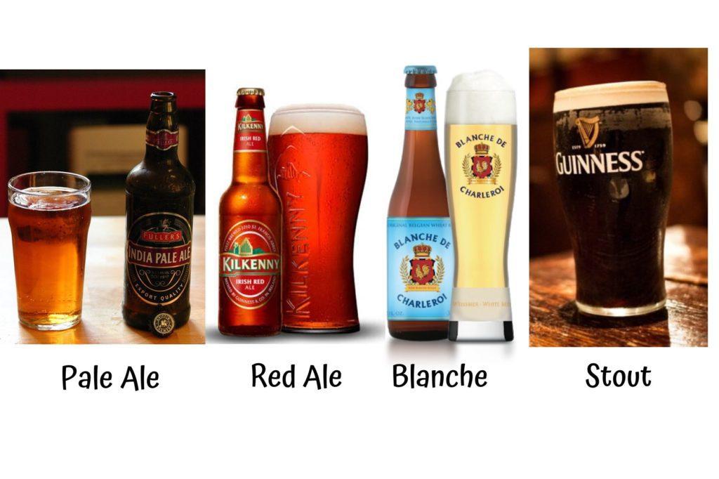 tipi di birre ale (pale ale, red ale, blanche, stout)