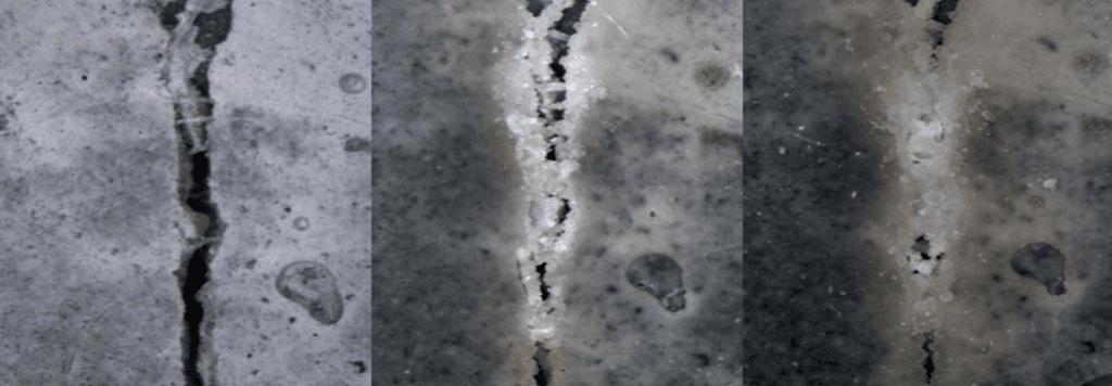 ricomposizione e riempimento di una crepa nel calcestruzzo. Fonte: Delft