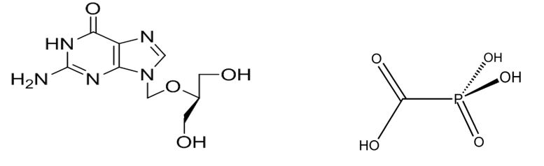 Strutture chimiche di ganciclovir (sinistra) e foscarnet (destra)