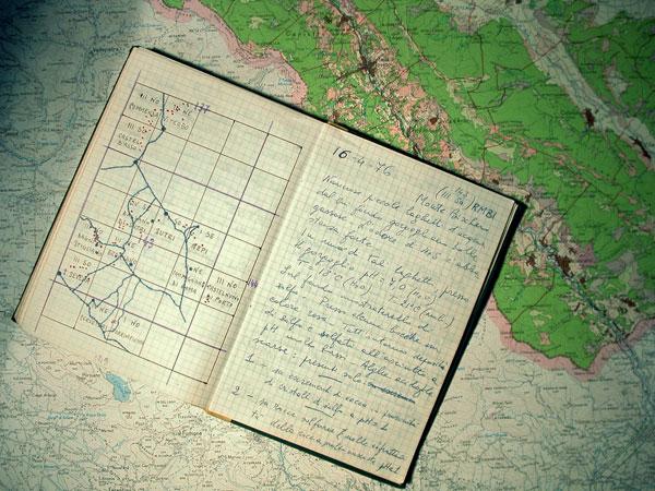 Immagine dell'archivio storico ritraente degli appunti del Prof. Taddei riguardanti una campagna per l'isolamento di nuove specie.